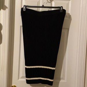 Rachel Roy Black Ribbed Skirt with White Stripes